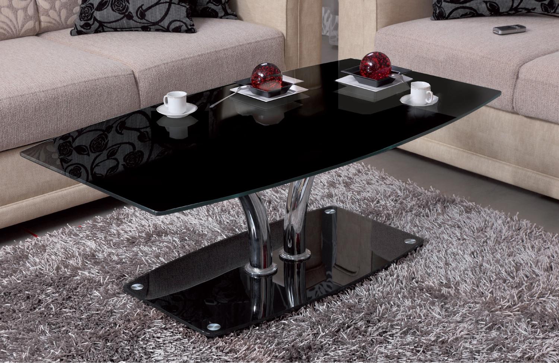 Журнальный стол из черного стекла модель 437