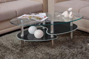 שולחן סלון מעוצב זכוכית שחורה דגם 801