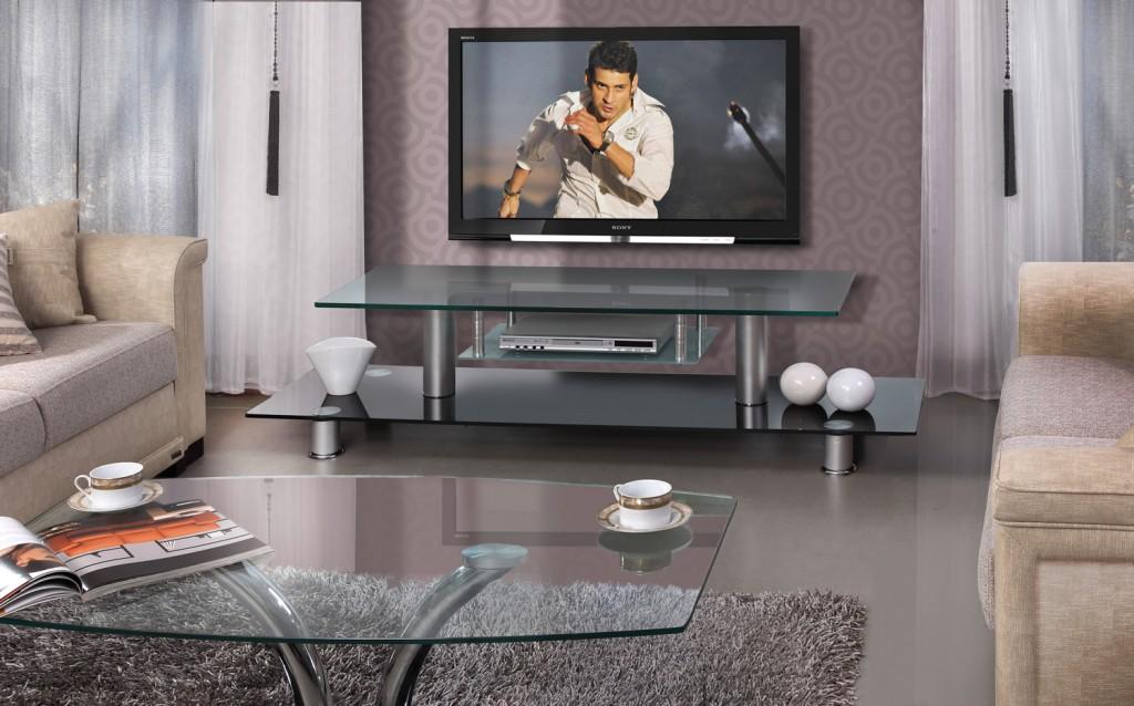 Тумба для гостиной под TV из черного стекла модель Мирон