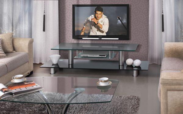 Тумба под TV для гостиной из черного стекла модель MIRON-BLACK