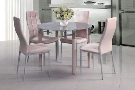 Круглый стеклянный обеденный стол модель AVIV с 4 стульями