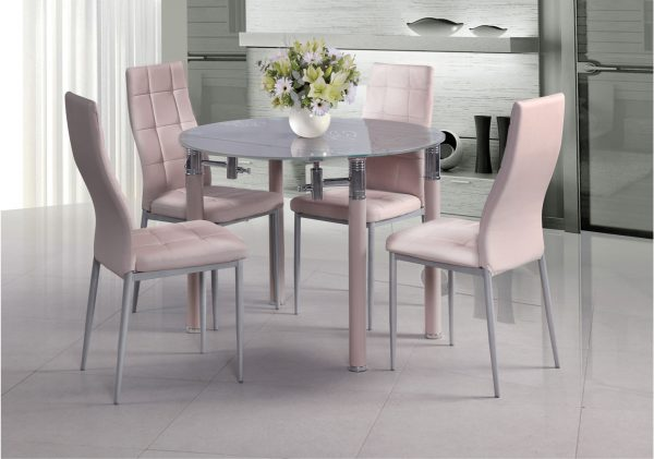 פינת אוכל עגולה מעוצבת זכוכית ורודה דגם AVIV עם 4 כסאות