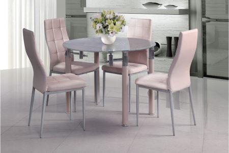 שולחן אוכל קטן נפתח לעגול מעוצב זכוכית בצבע ורוד דגם 296