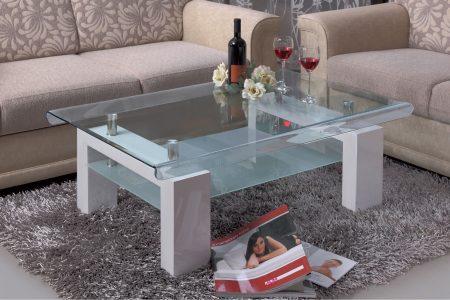 שולחן זכוכית לסלון דגם 118 לבן