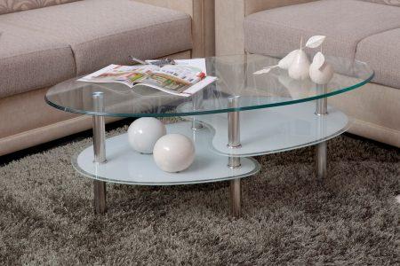 שולחן זכוכית לבנה לסלון דגם 801