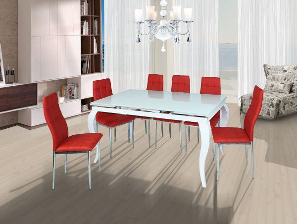 פינת אוכל מעוצבת זכוכית לבנה דגם LUIGI עם 6 כסאות