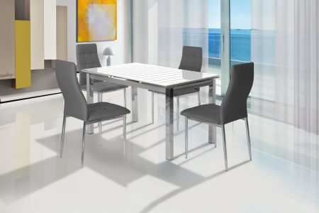 פינת אוכל מעוצבת זכוכית דגם OLGA כולל 4 כסאות