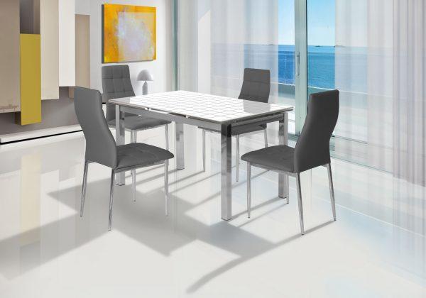 שולחן אוכל נפתח מעוצב זכוכית דגם 909