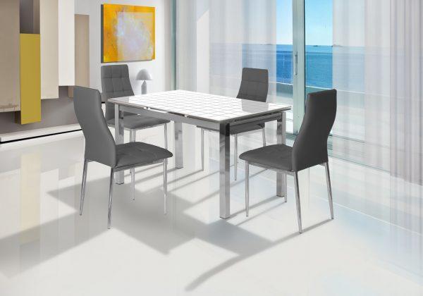 שולחן אוכל זכוכית חלבית דגם 09