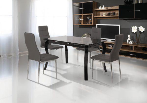 Обеденный стеклянный стол модель Луи Черный с 4 стульями