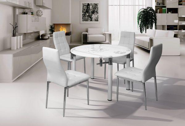 שולחן אוכל עגול מזכוכית לבנה דגם 296