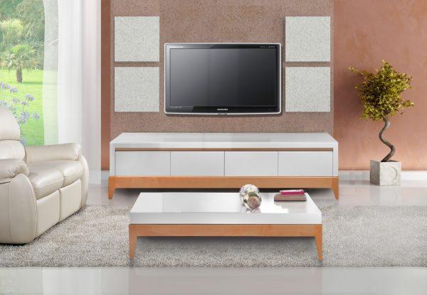 Комплект для гостиной RUNDO: тумба TV+журнальный стол