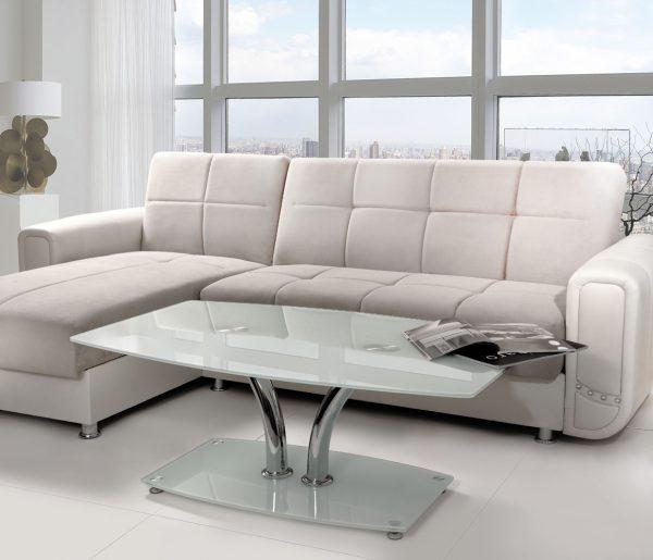 שולחן לסלון דגם 437 מזכוכית לבנה-חלבית