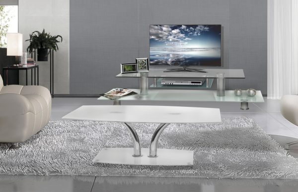 Стеклянная тумба для салона под TV модель Мирон