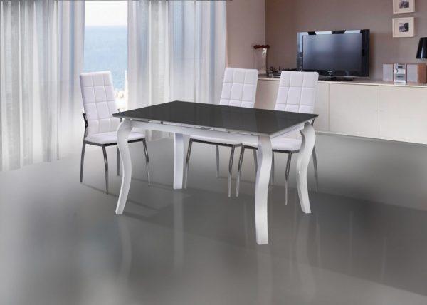 פינת אוכל מעוצב זכוכית דגם 27LBW נפתח ל 1.80 כולל 4 כסאות