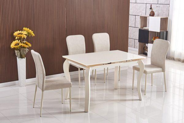 פינת אוכל מעוצבת זכוכית נפתחת (1.80) כולל 4 כסאות דגם 27C