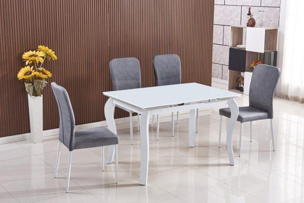 Стеклянный раскладной(1.80) обеденный стол со стульями модель 27W