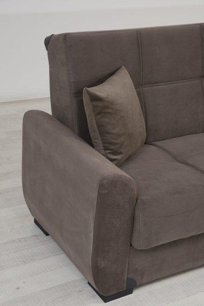 ספה נפתחת למיטה עם ארגז מצעים דגם Mona בד חום