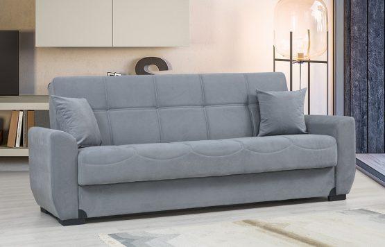 Диван кровать с ящиком для белья модель MONA-GRAY