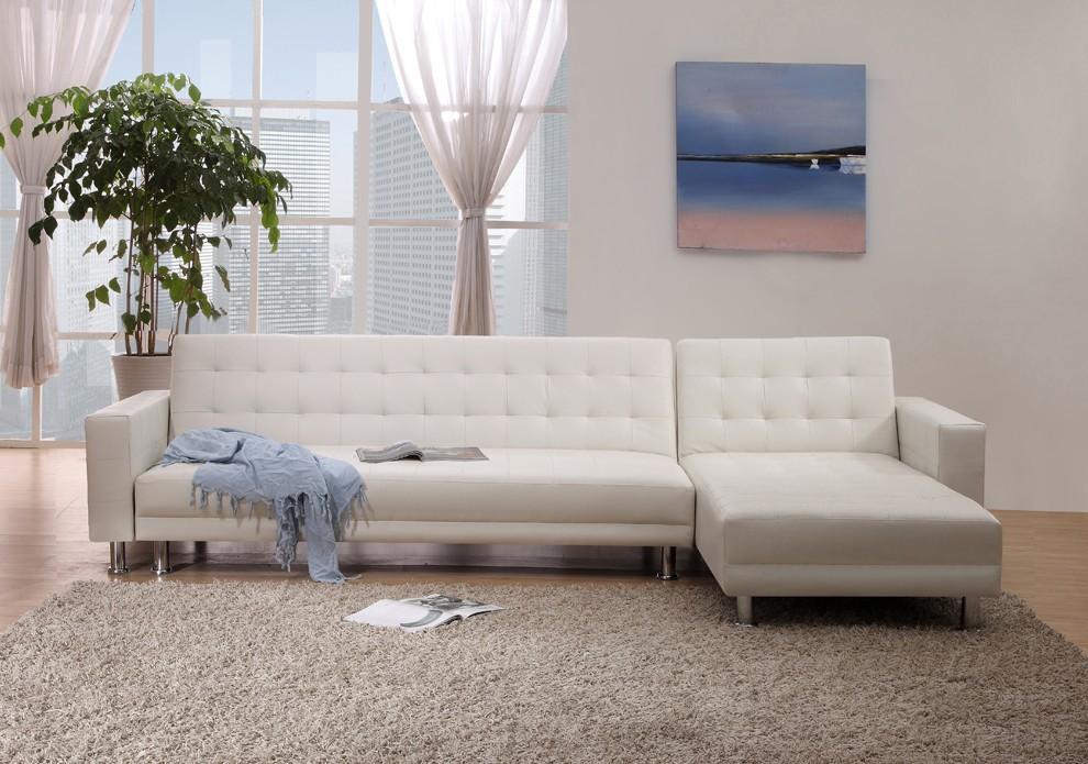 סלון פינתי מעוצב דמוי עור לבן נפתח למיטה זוגית דגם Monti