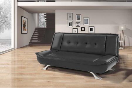 ספת אירוח מעוצבת דמוי עור שחור דגם Sofia