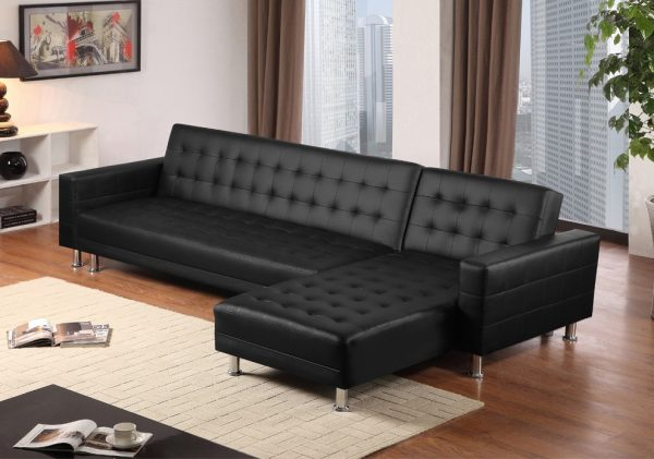 ספה פינתית לסלון מעוצבת דמוי עור שחור נפתחת דגם MONTI