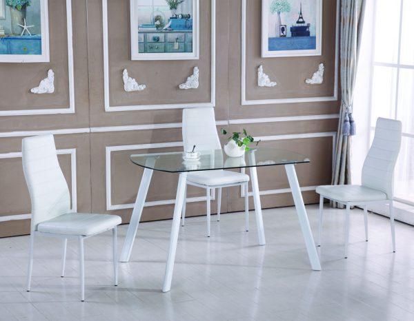 שולחן אוכל קטן זכוכית למטבח דגם 13-לבן