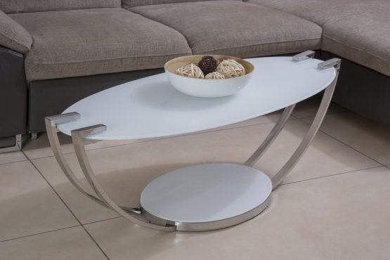 שולחן סלון מעוצב מודרני זכוכית חלבית וניקל דגם 17