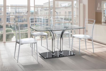 Небольшой стеклянный кухонный стол с 4 стульями модель ШАРОН-1