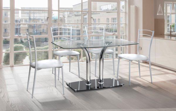 שולחן אוכל קטן ומדהים דגם 337 מעוצב זכוכית וניקל