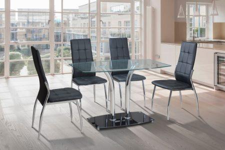 פינת אוכל מעוצבת זכוכית כולל 4 כסאות דגם SHARON