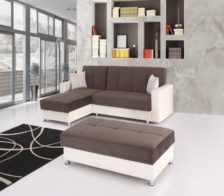 Угловой диван с оттоманкой модель EKO