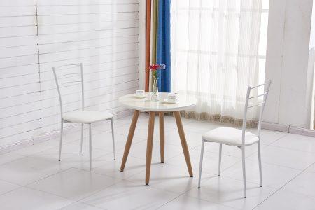 שולחן קפה עגול דגם MAOR ו-2 כסאות בעיצוב תואם