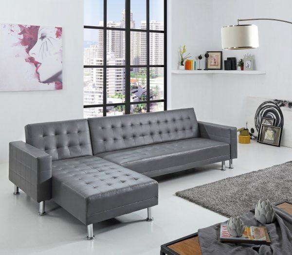 Угловой кожаный диван модель Монти с двуспальной кроватью