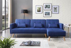 סלון פינתי מעוצב נפתח למיטה דגם MARIA-BLUE
