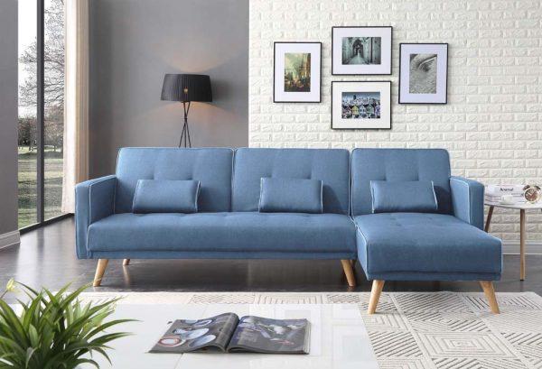 סלון פינתי נפתח למיטה בד כחול בהיר דגם Maria