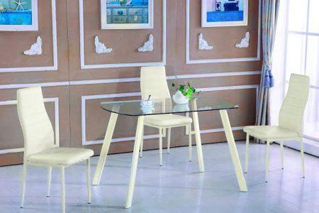 שולחן מטבח קטן מעוצב זכוכית דגם 13-קרם