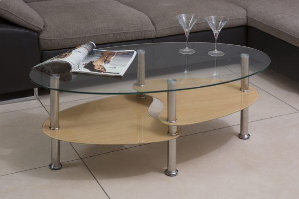 שולחן סלון זכוכית דגם 801 עם קווים מעוגלים