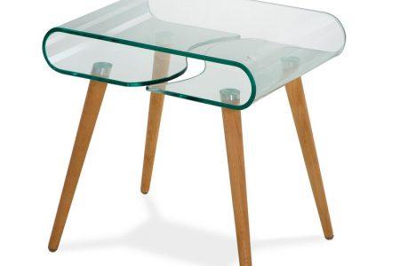 שולחן קפה מעוצב לסלון דגם 211 זכוכית שקופה ורגליים מעץ