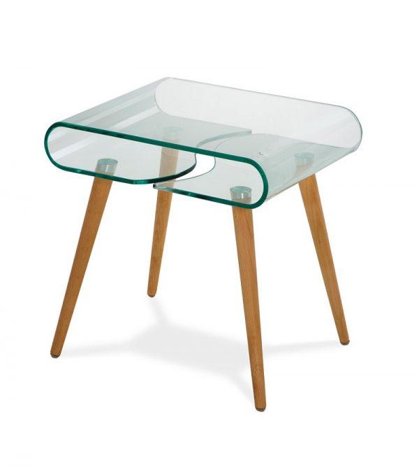 Кофейный стеклянный столик модель-211 с деревянными ножками