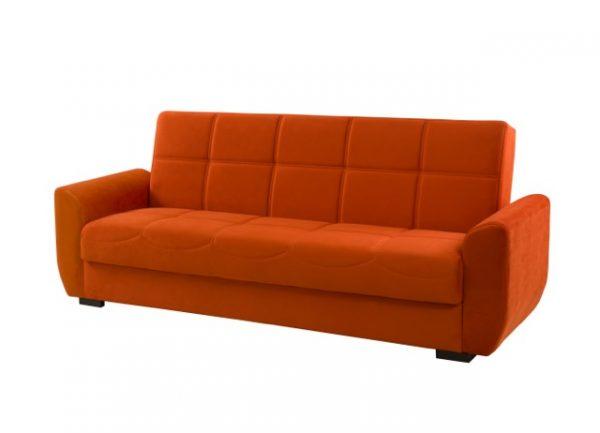 ספה נפתחת למיטה עם ארגז מצעים מבד צבע כתום דגם Mona