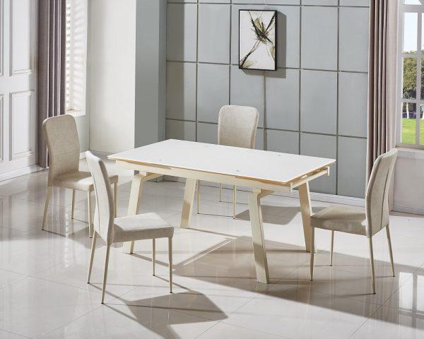 פינת אוכל מעוצבת זכוכית לבנה דגם ADI ו-6 כסאות