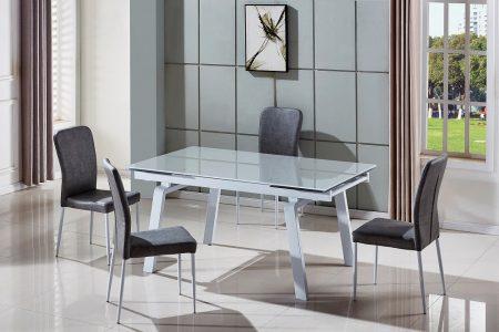 שולחן אוכל גדול נפתח מעוצב זכוכית דגם 163-אפור בהיר