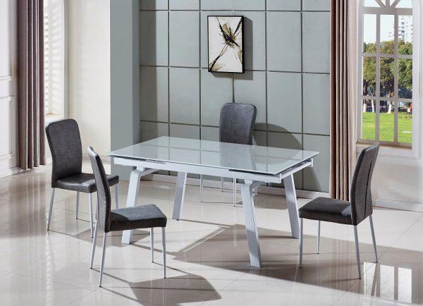 פינת אוכל מעוצבת זכוכית אפור בהיר דגם ADI ו-6 כסאות