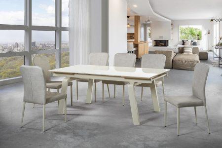 פינת אוכל מעוצבת זכוכית דגם URMA-CREAM ו-6 כסאות