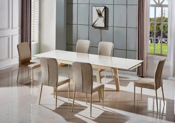 Раскладной обеденный стол из стекла модель URMA-CREAM