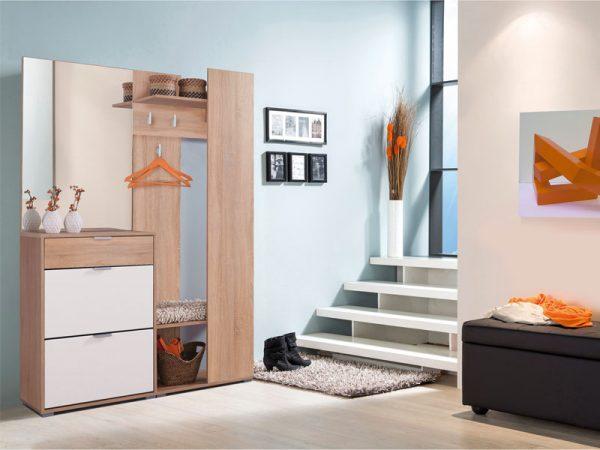 חדר כניסה ELISA-לבן כולל מראה, מתקן תליה וארון לנעליים
