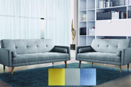 סלון 3+2 דגם NICOLE עיצוב מפואר בד-אפור