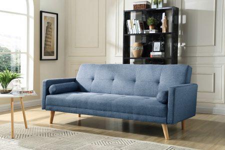 ספה תלת מושבים NIKA BLUE מעוצבת בסגנון רטרו