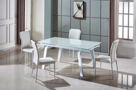 שולחן אוכל גדול נפתח דגם-163-לבן מעוצב זכוכית